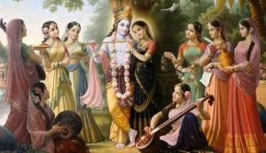 Radha, Gopis and Krishna