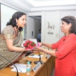 Namita being greeted by Anita Rao, Chair person Women's Winf, Vidarbha Industries Association